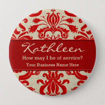 Red Damask Employee Name for Business Button