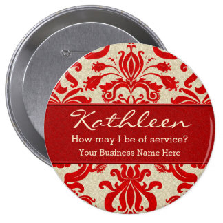 Red Damask Employee Personalized Business Button