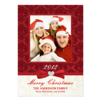 Red Damask Flat Photo Holiday Card