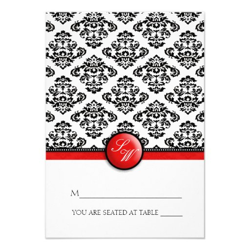 Red Damask Folding Tent  Place Card Custom Invite