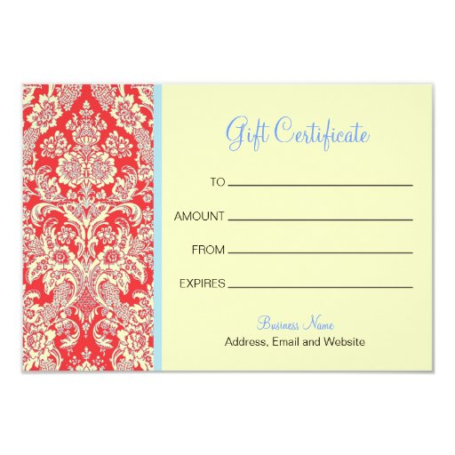 Red Damask Gift Certificate Card