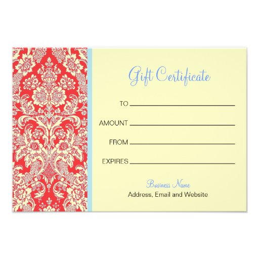 Red Damask Gift Certificate Invites