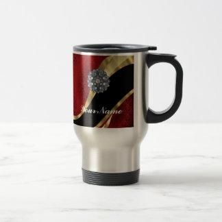 Red damask & gold 15 oz stainless steel travel mug