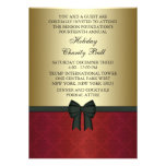Red Damask Gold Black Tie Corporate Party Custom Invitation