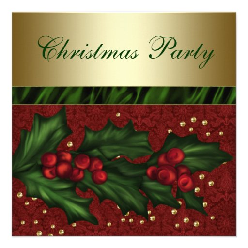 Red Damask Gold Holly Red Gold Christmas Party Invites