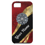 Red damask & gold iPhone 5 cases
