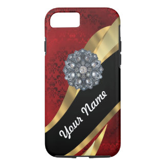 Red damask & gold iPhone 8/7 case