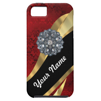 Red damask & gold iPhone SE/5/5s case