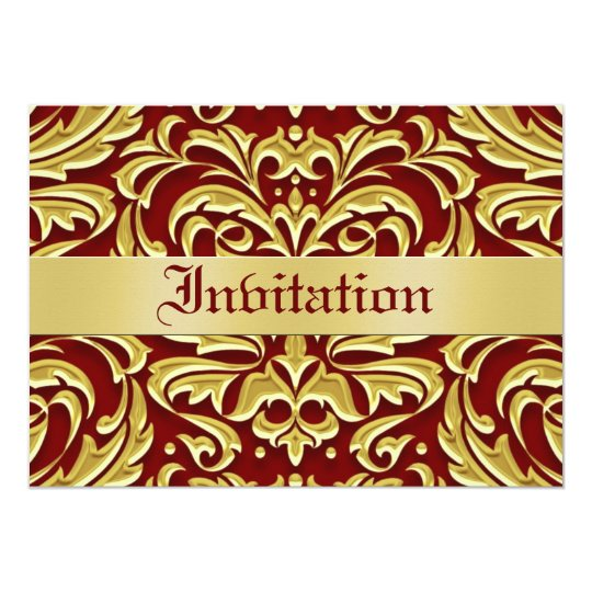 Red Damask Gold Metal Holiday Invitations