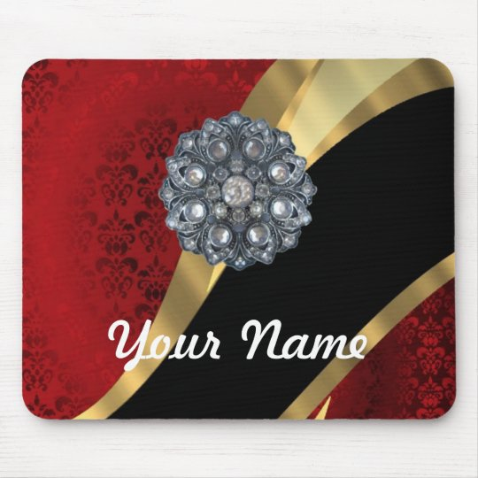 Red damask & gold mouse pad