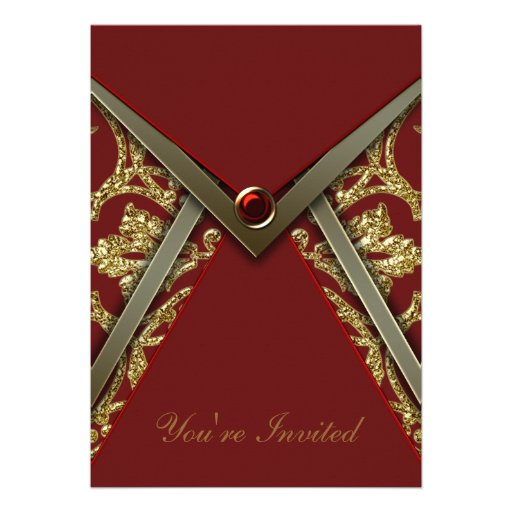 Red Damask Gold Party Invitation Template