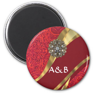 Red damask & gold swirl 2 inch round magnet