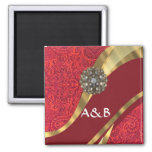 Red damask & gold swirl 2 inch square magnet