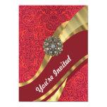 Red damask & gold swirl 5x7 paper invitation card