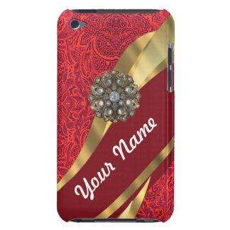 Red damask & gold swirl barely there iPod case