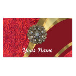 Red damask & gold swirl Double-Sided standard business cards (Pack of 100)