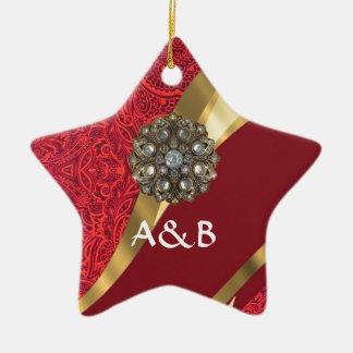 Red damask & gold swirl ceramic ornament