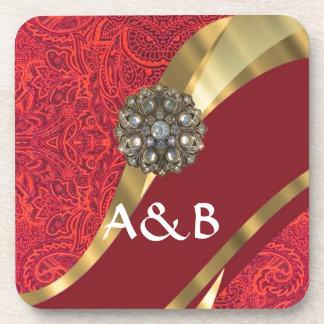 Red damask & gold swirl coaster