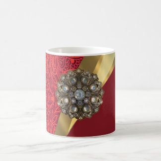 Red damask & gold swirl coffee mug