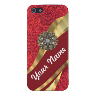 Red damask & gold swirl cover for iPhone SE/5/5s