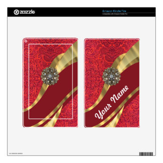Red damask & gold swirl decals for kindle fire