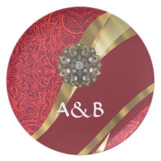 Red damask & gold swirl dinner plate