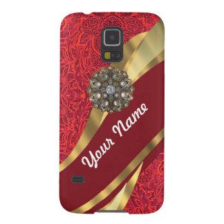 Red damask & gold swirl galaxy s5 case