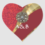 Red damask & gold swirl heart sticker