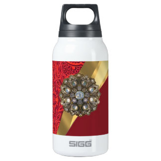 Red damask & gold swirl insulated water bottle