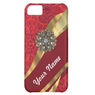 Red damask & gold swirl iPhone 5C cover