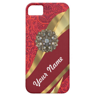 Red damask & gold swirl iPhone SE/5/5s case