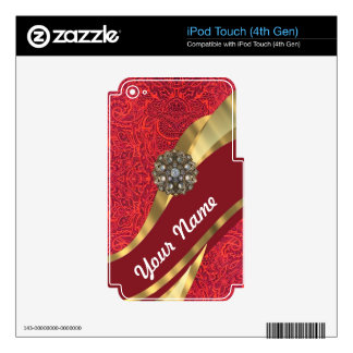 Red damask & gold swirl iPod touch 4G decals