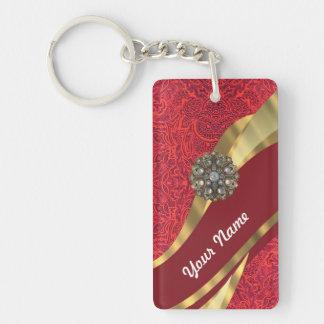 Red damask & gold swirl keychain