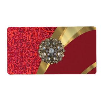 Red damask & gold swirl label