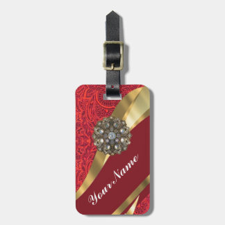 Red damask & gold swirl luggage tags