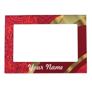 Red damask & gold swirl magnetic photo frame