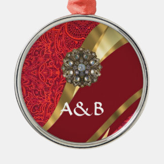 Red damask & gold swirl metal ornament
