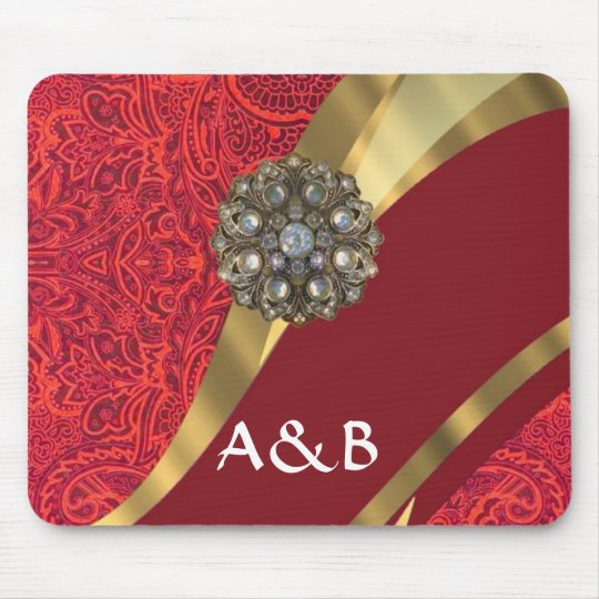 Red damask & gold swirl mouse pad