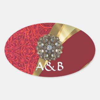Red damask & gold swirl oval sticker