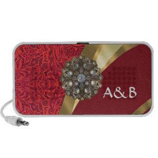 Red damask & gold swirl portable speaker