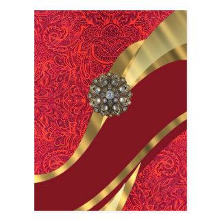 Red damask & gold swirl postcard
