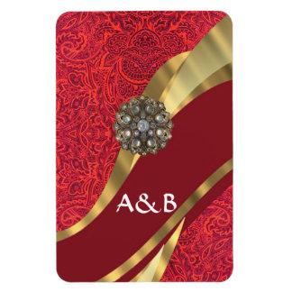 Red damask & gold swirl rectangular photo magnet