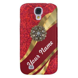 Red damask & gold swirl samsung galaxy s4 cover