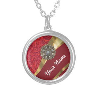 Red damask & gold swirl silver plated necklace