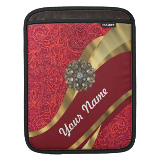 Red damask & gold swirl sleeve for iPads