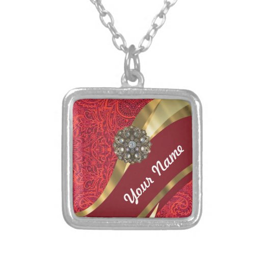 Red damask & gold swirl square pendant necklace