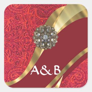 Red damask & gold swirl square sticker