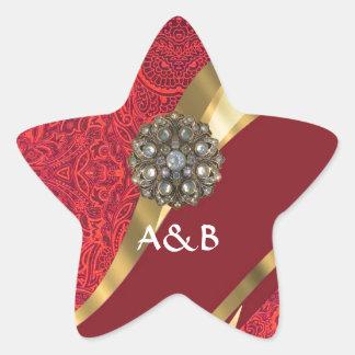 Red damask & gold swirl star sticker