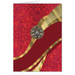 Red damask & gold swirl stationery note card