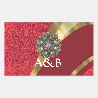 Red damask & gold swirl rectangular sticker